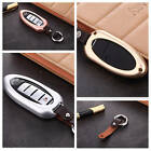 For Infiniti Car Key Fob Case Cover Keyless Entry Aluminum Genuine Leather+Chain