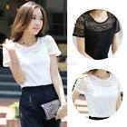 Fashion Womens New Lace Crochet Floral Blouse Tee Casual Short sleeve Shirt Tops