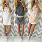 Womens V Neck Knitted Jumper Tops Ladies Bodycon Sweater Shirt Mini Short Dress