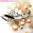 6-7mm Oval Pearl Beads White Gold-plated Ring Best Present With Gift Box