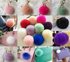 Extra Large Rabbit Fur Ball Pom Keychain Purse Great Gift Handbag Charm Key Ring