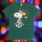 New Peanuts Charlie Brown Snoopy's Lights Christmas Tree Mens Vintage T-Shirt