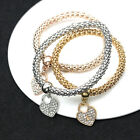 Lady Silver/Gold Plated Crystal Rhinestone Bangle Heart Charms Bracelet Jewelry