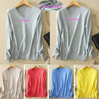 Womens Ladies Wool Cashmere V Neck Pullover Stretch Knit Sweater Cardigans