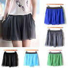 Stylish High Waist Pleated Chiffon Skirt Culottes Shorts Mini Pompon Dress
