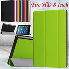 """Magnetic Leather Case Stand Protective Cover For Amazon Kindle Fire HD 8"""" Tablet"""