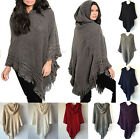 black poncho with hood - New Women Knit Batwing Top Poncho With Hood Cape Cardigan Coat Sweater Outwear