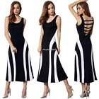 Tank Gestreift Hohlrücken Maxi Kleid Womens lady Ärmellos Stretch ANGVNS N4U8
