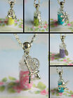 FAIRY DUST GLITTER NECKLACE OR KEYRING DISNEY PRINCESS BOTTLE CHARM GLASS