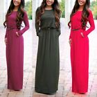 Fashion Women's Casual Long Sleeve Belted Party Evening Cocktail Long Maxi Dress