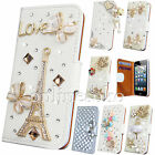 3D CRYSTAL BLING DIAMOND LEATHER  WALLET CASE FLIP COVER FOR APPLE iPHONES  for sale  United Kingdom