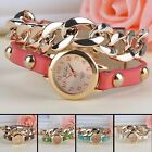 Women Rivet Chain Style Quartz Wrist Watch Synthetic Leather Strap Bracelet