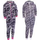 Girls Onezee Hooded Animal Print Zip Up Onesies All In One Onesie In 2 Colours