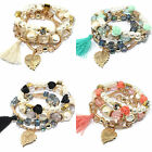 4pcs/set Jewelry New Gold Plated Charm Pearl Beads Crystal Women Bracelet Bangle