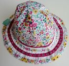Monsoon Baby Girls PINK WHITE Floral Reversible Bucket Summer Sun Hat 0-3y