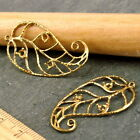 Sterling Silver Plated or Brass Vine Wired Leaf Earing Setting Bezel charms be17