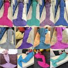 Womens Crocheted Mermaid Tail Blanket+Knitting Kids&Adult Sofa Sleeping Bag UK
