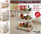 3 / 4Tier Plastic Storage Drawers Draws Tubs Boxes on Wheels Toy Kids Storage