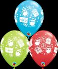 """Qualatex Penguins & Presents 11"""" Helium Quality Latex Party Balloons Christmas"""