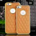 "Metal frame Genuine Leather Back Cover Case For Apple 4.7"" iPhone 6 6S RB2"