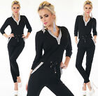 Sexy Women's Jumpsuit Leisure Suit Black Overall Fitness Tracksuit Size 8,10,12