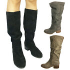 IDOMCATS WOMENS LADIES LOW HEEL SHOES KNEE HIGH MID CALF VINTAGE BIKER BOOTS
