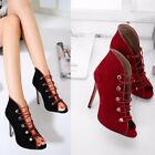 Peep Toe Lace Up Sexy Hollow Out Sandals Suede Stilettos High Heels Women Shoes