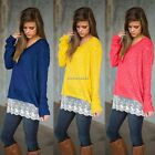 Fashion Women Knitted Lace Hem Jumper Pullover Sweater Long Sleeve Blouse Shirt