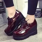 Womens Lace Up High Wedge Heels Platform Synthetic Leather Low Top Casual Shoes