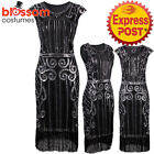 K296 Black 1920s Flapper Dress Great Gatsby Charleston 20s Abbey Sequins Costume