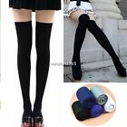 OVER THE KNEE SOCKS Plain Striped High Thigh Ladies Long Womens Stocking /