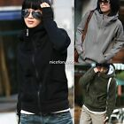 Womens High tie Hoodie Coat Long Sleeve Pullover Encase Finger Jacket Sweatshirt