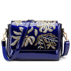 Women's Fashion Glossy Patent Leather Shoulder Bag Sequins Embroidered Bag P474