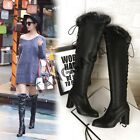 Sexy Womens Casual Fur Trim Lace Up Strappy Chunky Heels Knee High Boots Shoes