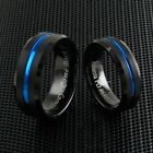 Engraved 8mm Black Tungsten Brushed Thin Blue Line Band Ring