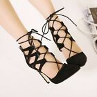 Hollow Out Lace Up Pointed Toe Pumps Zip High Heel OL Sandal Women Banquet Shoes