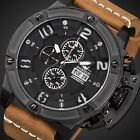 INFANTRY Mens Quartz Wrist Watch Sport Chronograph Date Day Brown Leather Luxury