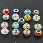 Multi Color Faceted Lampwork Glass Loose Rondelle European Beads Fit Bracelet