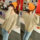 Hot Womens V Neck Cable Casual Sweater Knitted Blouse Tops Batwing Outwear