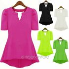 Women's Girl Summer Casual Tops Solid Short Sleeve Blouse Lady T-Shirt Long Tops