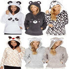 Ladies Forever Dreaming Soft Warm Fleece Fun Novelty Animal Hooded Snuggle Top