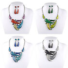 Fashion Womans Geometric Collar Tibet Silver Chain Necklace Earrings Jewelry Set