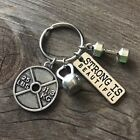 """STRONG IS BEAUTIFUL""Dumbbell Weightlifting Gym Fitness Crossfit Lover Keychain"