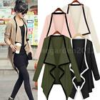 New Women Asymmetric Outerwear Contrast Coat Long Sleeve Cape Cardigan Tops O2X6