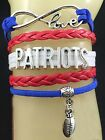 New England Patriots Leather Woven Bracelet OR Choker**FREE SHIPPING/TRACKING**