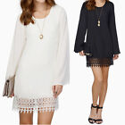 Loose Lace Chiffon Evening Party Cocktail Dress Women Long Sleeve Sgort Dress