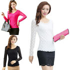 Women Lady Slim Lace Floral Long Sleeve T Shirt Blouse Top TRjc ATAU