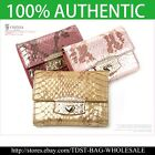 [OMNIA] Crystal Ladies Wallet Genuine Leather Trifold Purse ID Card Coins Snake image