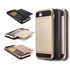 For Apple iPhone 7 /7 Plus Hybrid Card Holder Pocket Slim Wallet Back Case Cover