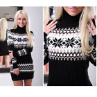 Women Winter Long Sleeve Slim Sweater Jumper Knit Lady Bodycon Mini Dress Warm P